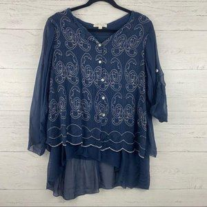 Belle France Navy Blue Embroidered Silk Blouse